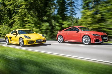 porsche audi test audi tt rs vs porsche 718 cayman s by car magazine