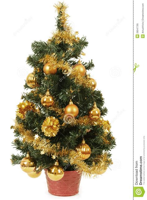 small christmas tree in pot with yellow balls stock image