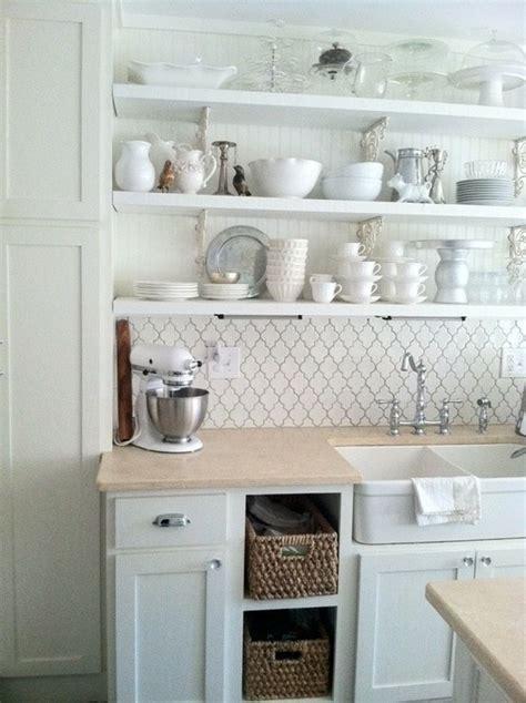 Cottage Style Kitchen Ideas white lantern tile make this kitchen bright and inviting