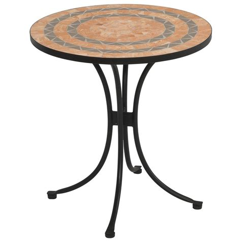 Terra Cotta Tile Top Outdoor Bistro Table   225048, Patio