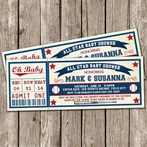 Baby Shower Baseball Ticket Invitations by Vintage Baseball Invitation Baseball Baby Shower Diy