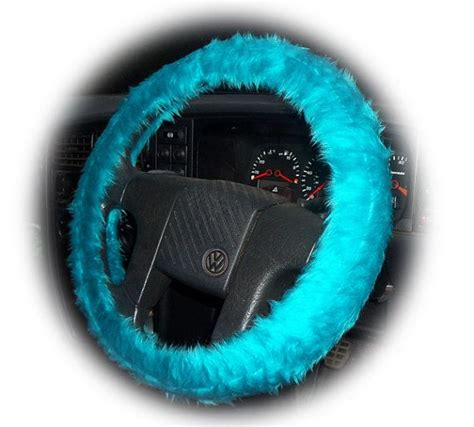 Steering Wheel Covers Fuzzy Teal Turquoise Steering Wheel Cover Faux Fur Fluffy
