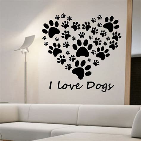 fashion red love heart wall stickers home decor life tree i love dogs paw print wall stickers heart removable diy