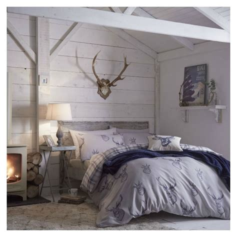 rustic bedroom bedding stag tartan reversible duvet cover set in navy love this