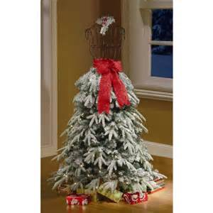 Christmas trees 5 flocked dress form artificial tree clear lights