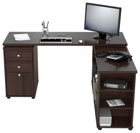 Inval L Shaped Computer Work Station Espresso Wengue L Shaped Work Desk