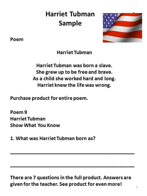 harriet tubman biography and questions harriet tubman poem and comprehension packet best