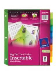 Avery 11907 Template by Big Tab Two Pocket Insertable Plastic Dividers 11907 8