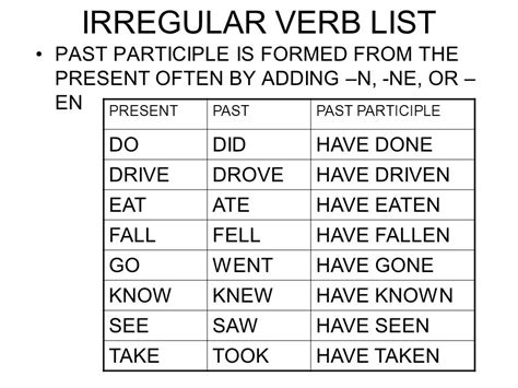 drive past tense verbs ppt video online download