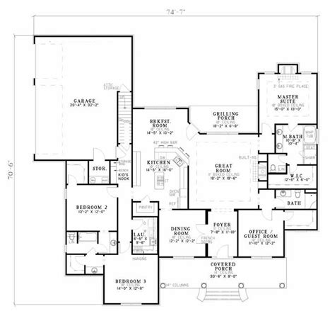 house plans with no dining room 4 bed 3 bath ranch 2556 sq ft office in 4th bed or