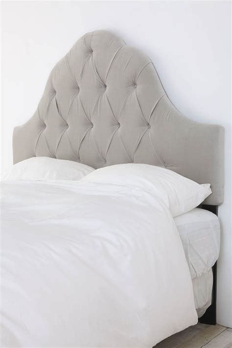 Velvet Tufted Headboard Light Grey Urban Outfitters