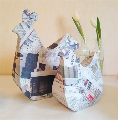 How To Make Paper Mache Without Newspaper - mollymoocrafts papier mache hens mollymoocrafts