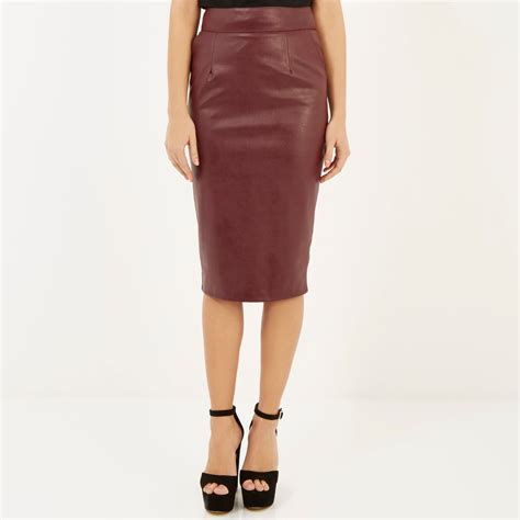 river island leather look pencil skirt in lyst