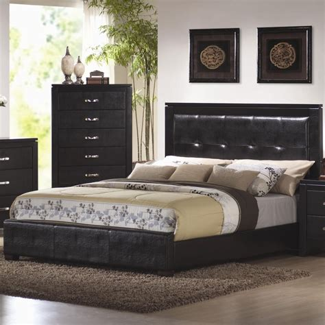 coaster 201401kw black california king size leather bed