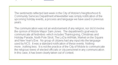 Letter Closing Happy Holidays City Of Mobile S Quot Happy Holidays Quot Newsletter Rankles Residents Al