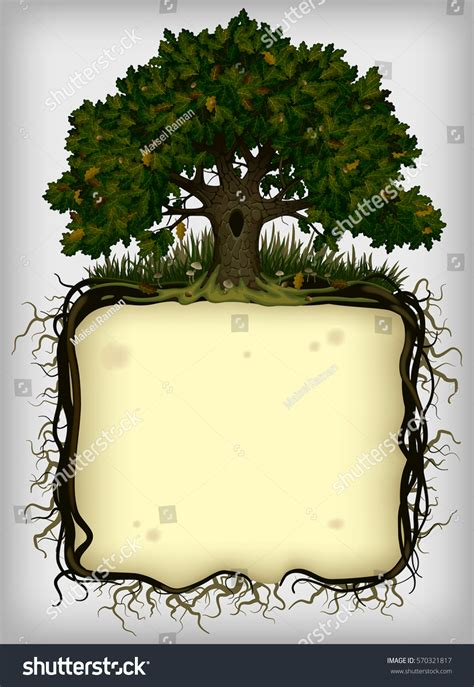 Oak Tree Roots Frame Vintage Artistic Stock Vector 570321817 Shutterstock Vintage Family Frames Tree Stock Image Image 32018791