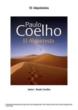 el alquimista libro pdf descargar libro gratis el alquimista pdf epub mobi por paulo coelho libros