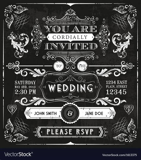 free vintage wedding invitation vector vintage wedding invitation royalty free vector image