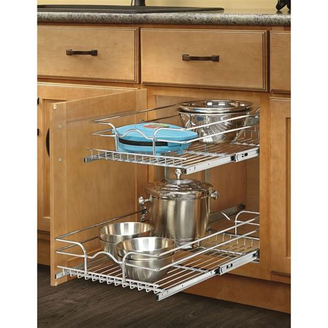 kitchen cabinet shelf organizer shop rev a shelf 14 75 in w x 19 in h metal 2 tier pull