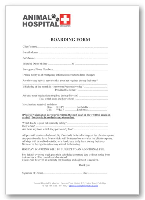 Animal Hospital Of St Maarten Gt Contact Us Gt Download Forms Boarding Form Template