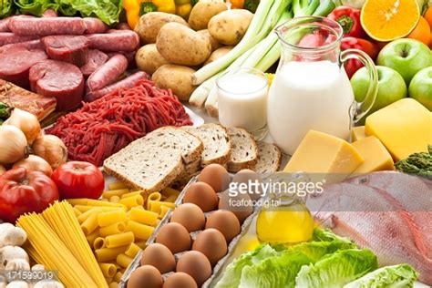 The Types Of Products Purchase Using Only An Search Are Typically Table Filled With Different Types Of Foods Stock Photo Getty Images