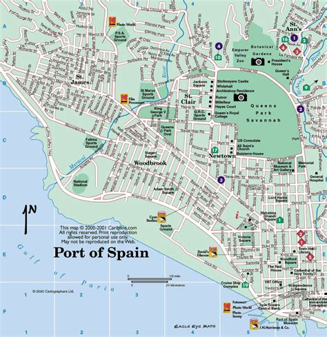 map of port of spain streets port of spain and tobago cruise port of call