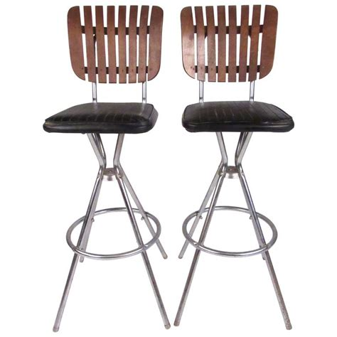 contemporary swivel bar stools with back pair of mid century modern slat back swivel bar stools for