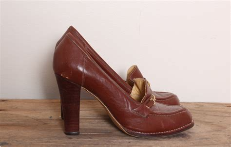loafer heels vintage loafer heels 70s stacked heels oxford shoes heeled