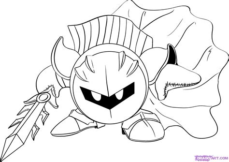 how to draw meta knight from kirby step by step video