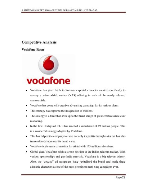 vodafone up letter a study on advertising activities of bharathi airtel hyderadad