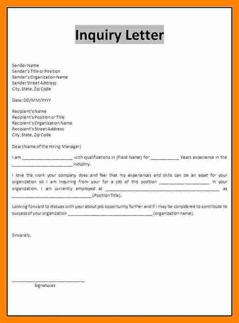 cover letter for vacancy inquiry 8 inquiry letter for resume sections