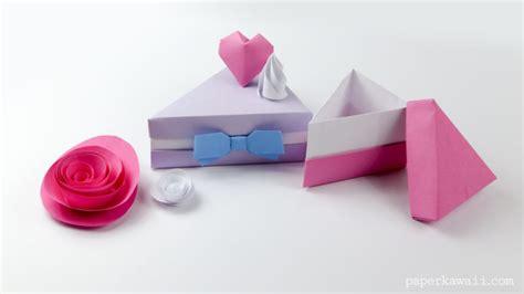 How To Make Paper Cake Slices - origami cake slice box paper kawaii