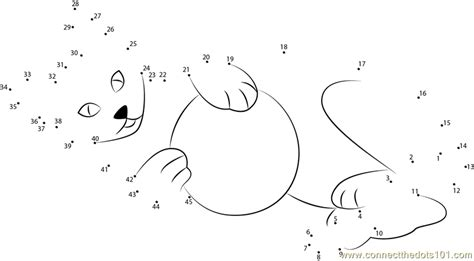 printable dot to dot cat cat playing ball dot to dot printable worksheet connect