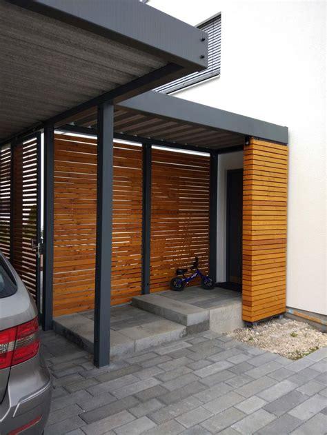 design metall carport mit vordach aus holz stahl paris