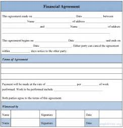 financial agreement template financial agreement form sle financial agreement form