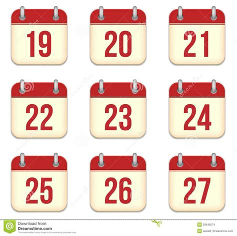 Sell Day Calendar Vector Calendar App Icons 19 To 27 Days Stock Images