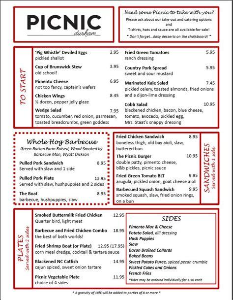 menus picnic durham