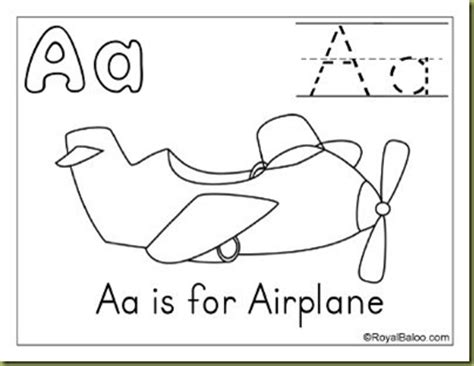 A Is For Airplane Coloring Page toddler time printables things that fly royal baloo