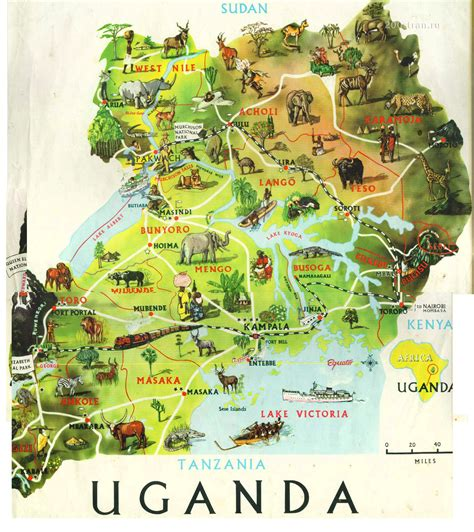 map of uganda uganda touristische karte