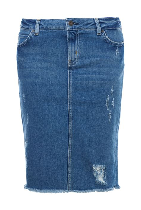 zara ripped denim skirt in blue lyst