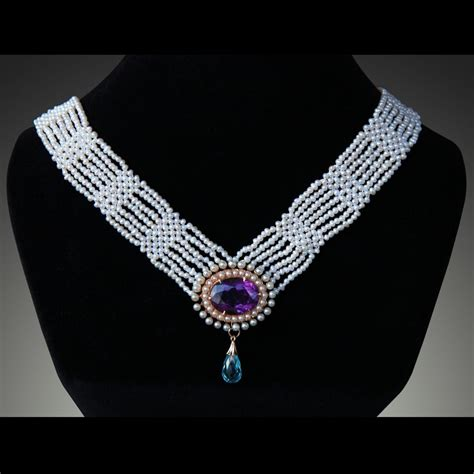 custom make jewelry custom woven purple amethyst seed pearl necklace