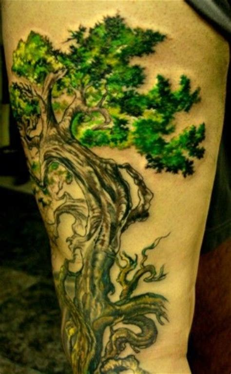 bonsai tree tattoo bonsai tree on thigh tattooimages biz