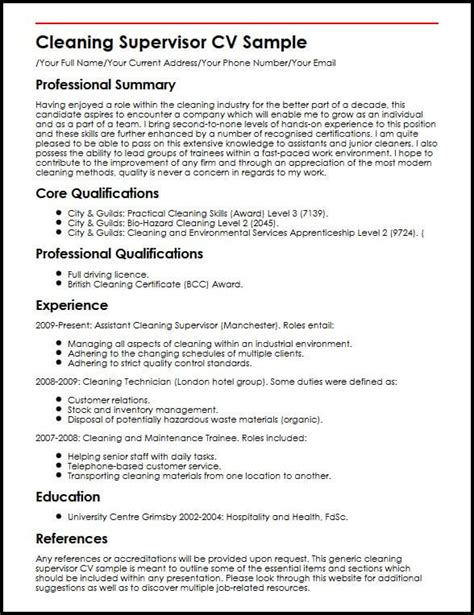 Commercial Cleaner Resume Skills by Cleaning Supervisor Cv Sle Myperfectcv
