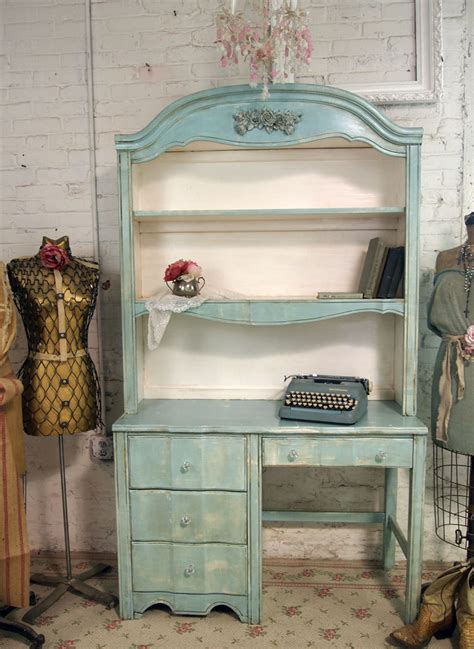 Vintage Painted Cottage Shabby Aqua Chic Desk With Hutch Dk124 Shabby Chic Desk