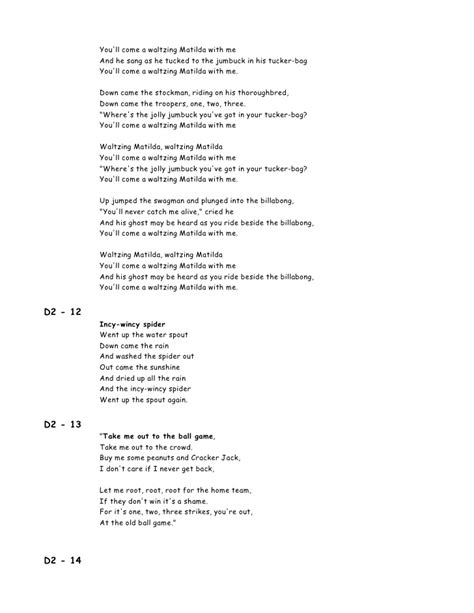 printable lyrics waltzing matilda 00 lyrics 100 songs for kids