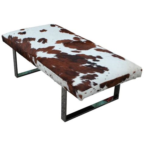 cowhide ottoman for sale striking cowhide and chrome bench of ottoman at 1stdibs
