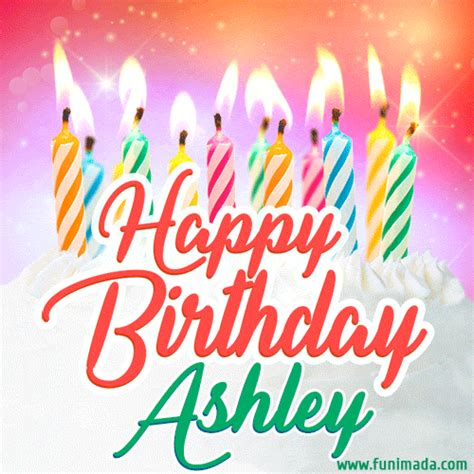 happy birthday gif  ashley  birthday cake  lit candles   funimadacom