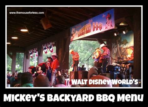 backyard barbecue restaurant mickey s backyard bbq menu at disney s fort wilderness
