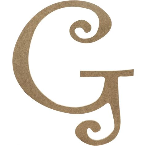 "14"" Decorative Wooden Curly Letter: G [AB2151"