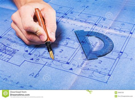 draw blueprints architecture blueprint drawing stock photos image 2669703